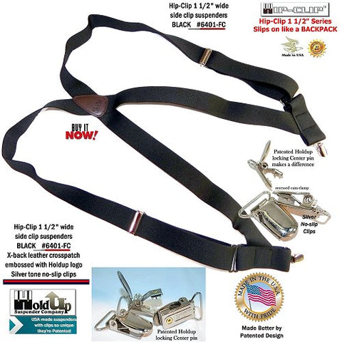 USA made Trucker style black Holdup Brand side clip-on suspenders with 2 silver-tone no-slip clips