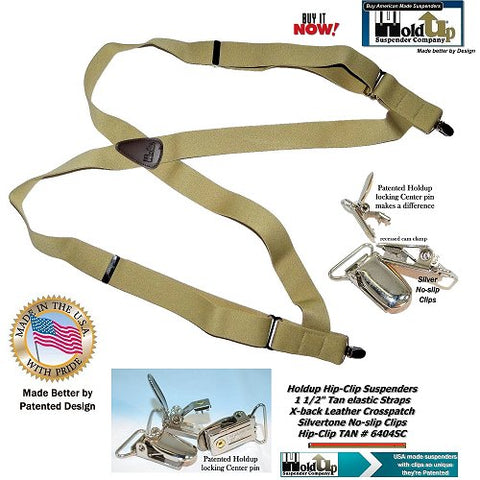 USA made Holdup Brand Tan Hip-clip Series side clip Suspenders with Patented No-slip Silver Clips