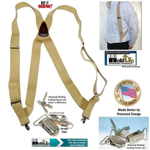 Tan Hip-Clip Series Holdup side clip-on X-back suspenders with patented no-slip clips