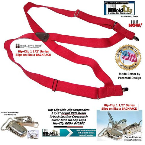 Hip-Clip Series 1 1/2inch wide side-clip RED suspenders that slip on like wearing a backpack with no-slip silver-tone clips