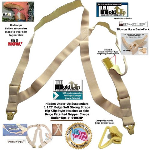 HoldUp Brand Under-Up Tan Suspenders with Patented Beige Gripper Clasp