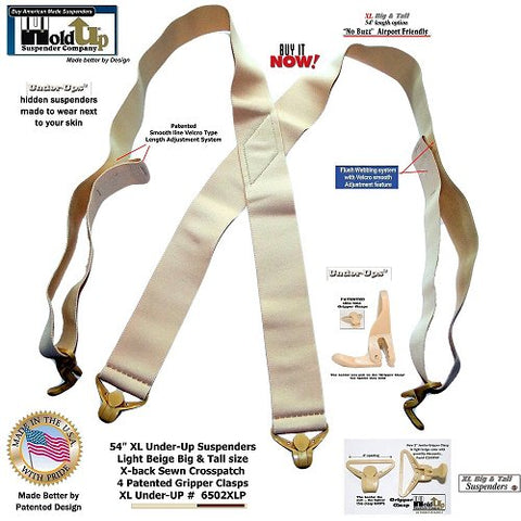 "USA made 2"" wide Under-Ups in the XL 54"" adjustable length for the big and tall man needing a suspender to wear under any loose fitting shirt"