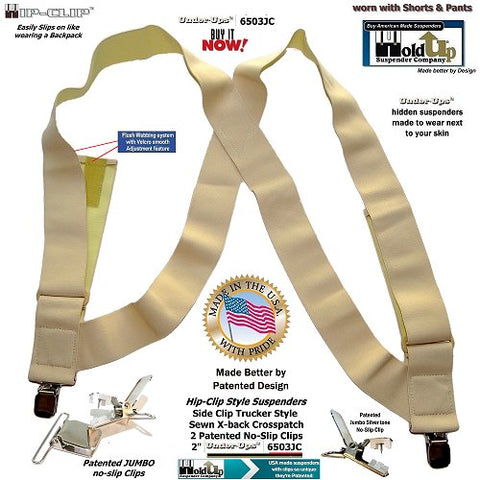 Holdup hidden side clip style super soft 2 inch wide Hip-Clip suspenders with jumbo no-slip clips