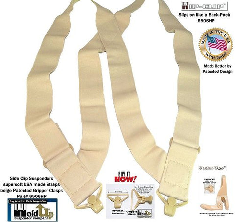 Hold Up Brand Under-Up Series light beige Tan Suspenders are Patented with Our Airport Friendly Composite Plastic Gripper Clasp