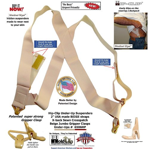 HoldUp Brand Under-Up Series light beige Tan Suspenders are Patented with Our Airport Friendly Composite Plastic Gripper Clasp