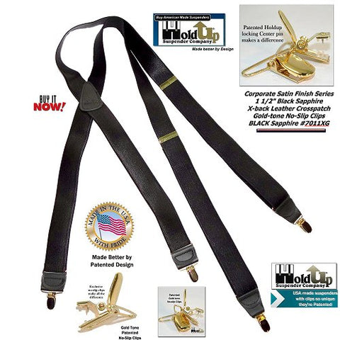 11e883f10ac XL Corporate Series Black sapphire satin finished Holdups with patented  gold-tone no-slip HoldUp Brand Black Satin Finish X-back Dressy suspender  ...