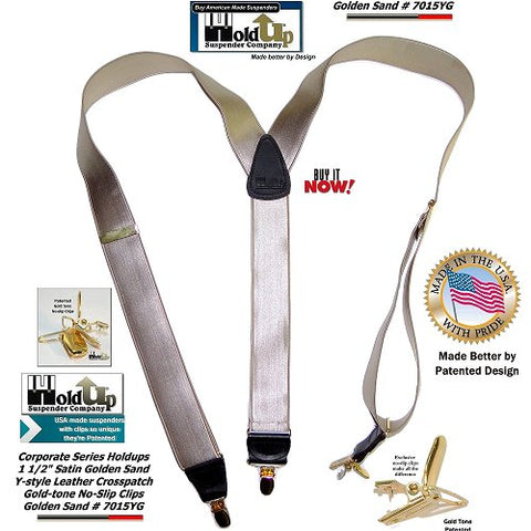 Holdup Corporate Satin finished Y-back Golden Sand color clip-on suspenders made in the USA