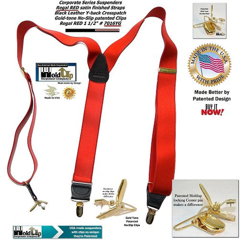 Holdup Corporate Satin finished Regal Red Y-back suspenders have patented gold-tone no-sip clips and black leather trim