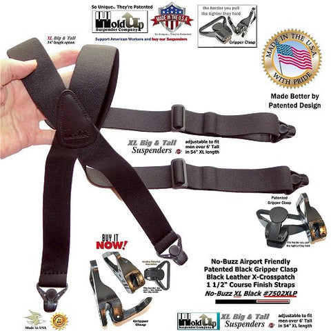 Black XL metal free airport friendly X-back Holdup suspenders with composite plastic Gripper Clasps