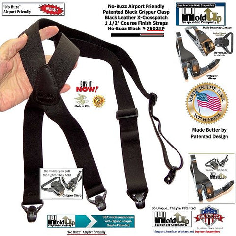 USA made Holdup Brand No-buzz Airport Friendly Black X-Back Suspenders with composite plastic strong Patented Gripper Clasps