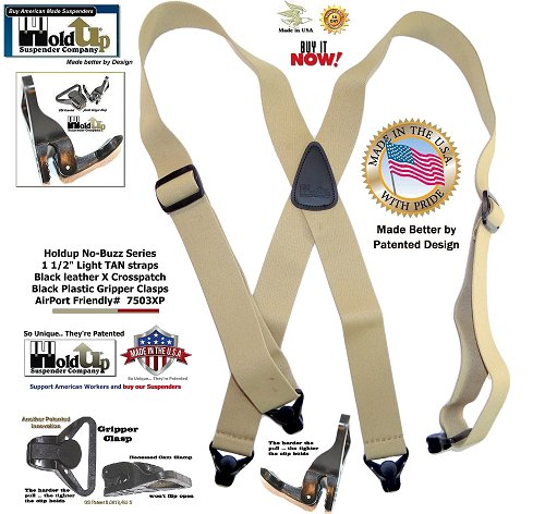 Holdup No-Buzz light Tan X-back airport friendly men's suspenders with patented composite plastic Gripper Clasps