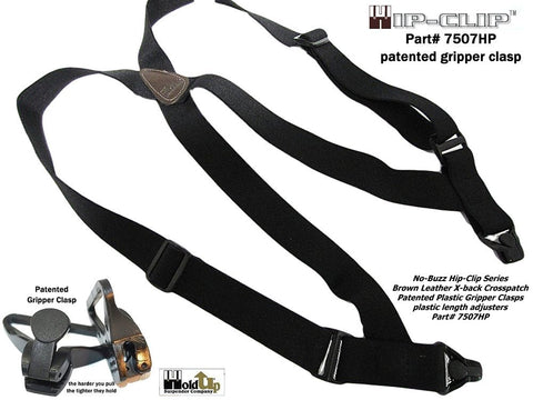 HoldUp Brand Airport Friendly Black Trucker Style Hip-clip Suspenders with Plastic Gripper Clasps