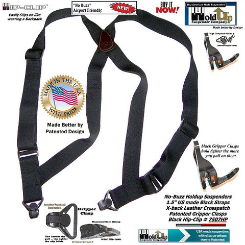 HoldUp Airport Friendly Black Hip-clip style Suspenders with Plastic Gripper Clasps