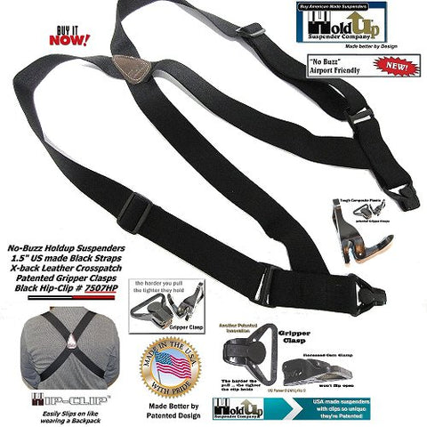 HoldUp Brand Airport Friendly Black Trucker Style Hip-clip Suspenders with Plastic Gripper Clasps are made in the USA.