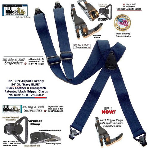 Dark Blue X-back no-alarm Holdup Suspenders with patented Gripper Clasps for the Big and Tall frequent flier