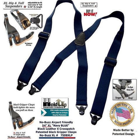 HoldUp Brand XL Big and tall sized No-buzz Airport Friendly Blue Suspenders with Patented Gripper Clasps