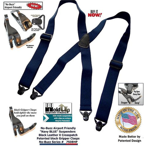 Dark Blue airport friendly clip-on Holdup suspenders in X-back with Patented composite plastic Gripper Clasps
