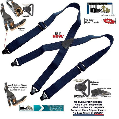 American made Dark Blue airport friendly clip-on Holdup suspenders in X-back with Patented composite plastic Gripper Clasps