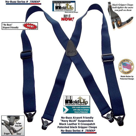 No Buzz Series Holdup dark blue X-back Airport Friendly suspenders with strong Gripper clasps