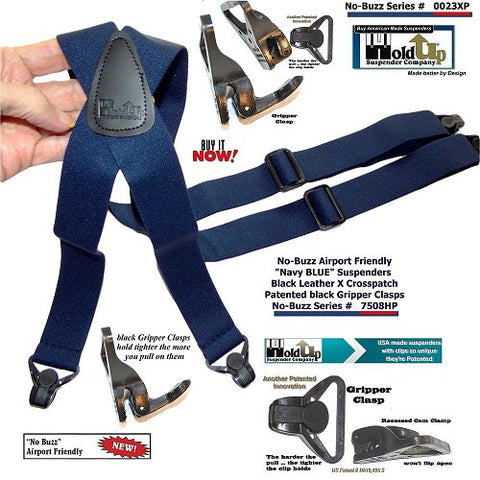 Dark blue traveler suspenders with patented plastic gripper clasps that won't trigger security metal detectors at airports