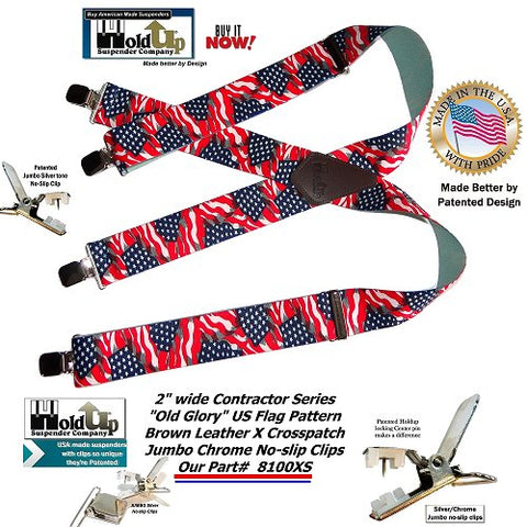 American Made Holdup Brand Old Glory US Flag pattern X-back Suspenders with patented No-Slip Clips