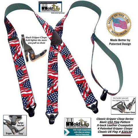Classic Series Stars and Strips Flag pattern Holdup X-back suspenders with black patented Gripper clasps