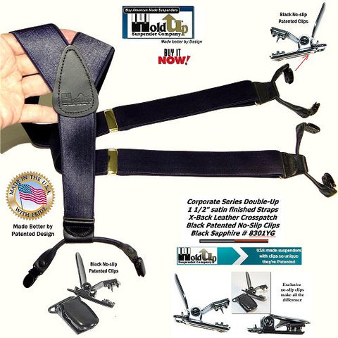 Corporate Series Black Sapphire satin finished dual clip Y-back suspenders with patented no-slip center pin type clips