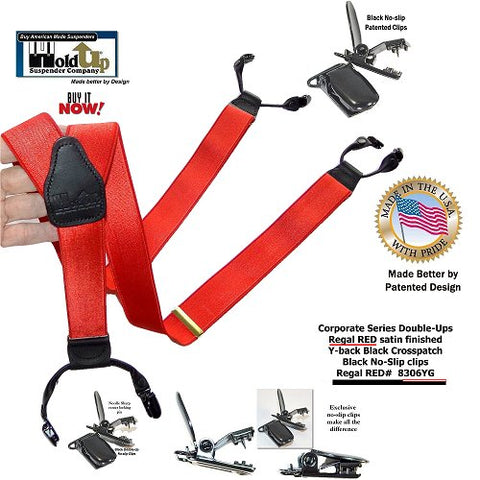 Corporate Regal Red Double-Up style Holdup Y-back suspenders with black no-slip patented clips