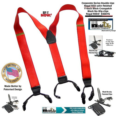 Corporate Series satin finished Regal RED holdup suspenders with black leather Y-back logo embossed crosspatch
