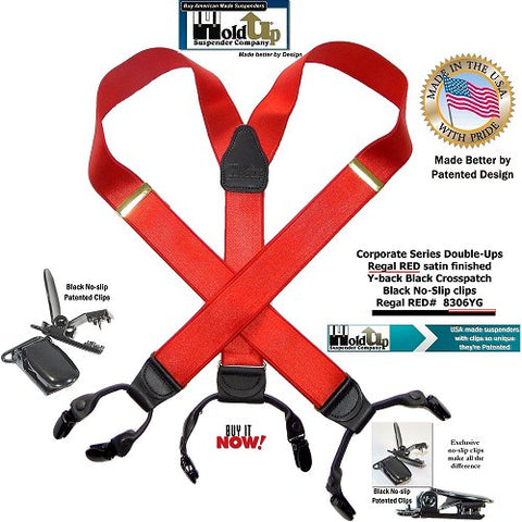 USA made Bright Regal Red dressy dual clip Holdup Double-Up suspenders with patented no-slip clips