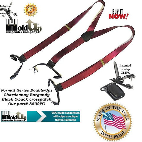 Formal Series Dual Clip Double-Up style Holdup Suspenders in a rich satin Chardonnay burgundy color with patented black no0-slip center pin type clips