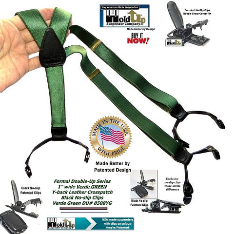Holdup Brand Formal Series Verde Green Satin Finished Double-ups Style Suspenders with patented no-slip clips  and they're made in the USA