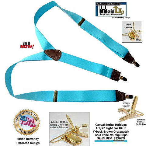 Casual Series Ski Blue Y-back Holdup suspenders are made better in the USA by patented design