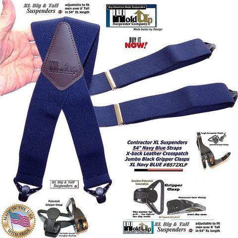 Navy blue heavy duty work suspenders in XL length with strong jumbo patented Gripper clasps