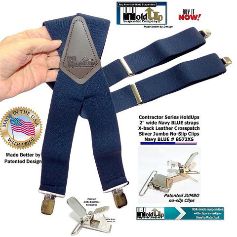 "American Made Contractor Series 2"" Wide Work X-back Holdup Suspenders in Navy Blue With Silver-tone Jumbo No-slip Clips"