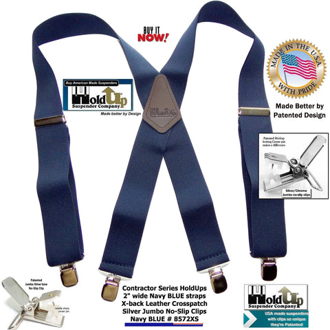 "Contractor Series 2"" Wide Work Suspenders in Navy Blue With Silver-tone Jumbo No-slip Clips are made in the USA"