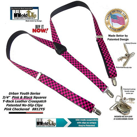 01c87722680 Urban Youth Teen Girls Pink and black square pattern Girls Y-back Holdup  suspenders made