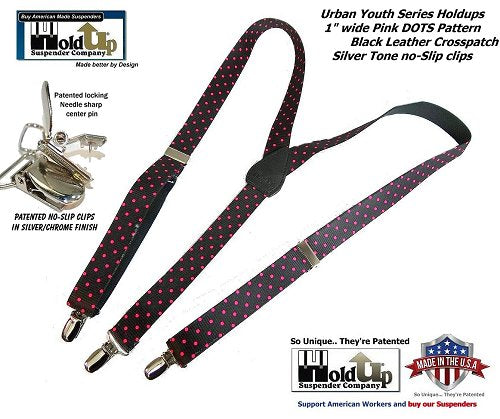 """Holdup Brand Urban Youth Pink Dots 1"""" wide suspenders in Y-back with No-slip Silver Clips"""