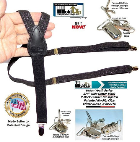 Girls Black Glitter clip-on Y-back Holdup Suspenders with silver-tone no-slip center pin clips