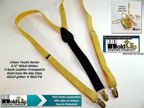 Urban Youth Series Golden Glitter Gals Holdup Y-back suspenders with patented no-slip clips