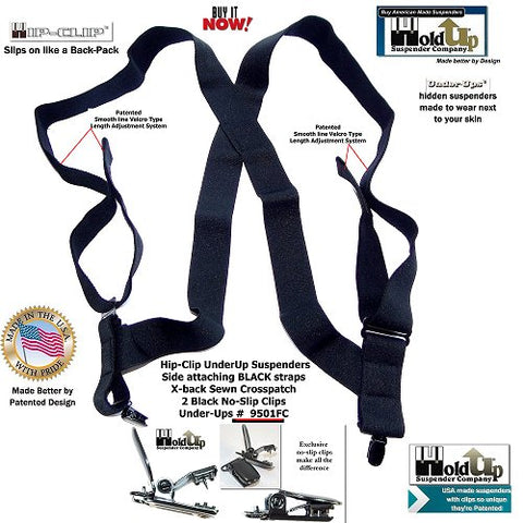 USA made Black Under-Up hidden Holdup Trucker style suspenders with 2 patented black no-slip clips with locking center pin