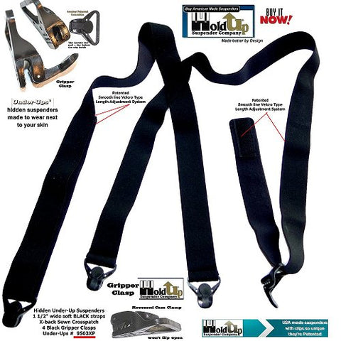 Black undergarment Holdup suspenders with 4 patented Gripper clasps are made in the USA and are no-alarm airport friendly