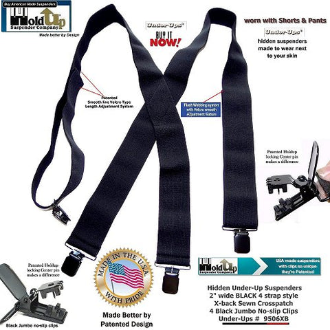 "Hidden all black 2"" wide undergarment suspenders have a patented smooth line Hook and loop strap length adjustment system"