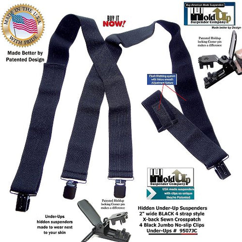 "invisible all black 2"" wide hidden undergarment suspenders have a patented smooth looking Velcro length adjustment system"