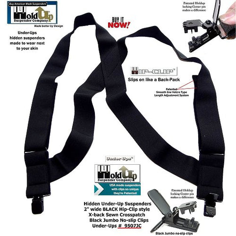 "Side clip style 2"" wide ALL Black Under-Ups suspenders made to be worn under any Loose fitting shirt with pants or shorts and they're made in the USA."