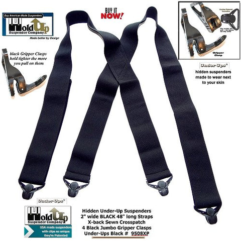 Black 2 inch wide Holdup Brand undergarment suspenders work with pants or shorts and won't trigger metal detectors