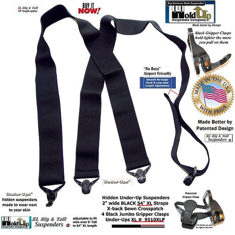 All black 2 inch widr XL length hidden no-alarm suspenders with patented gripper clasps