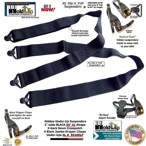 "Holdup USA made 2"" Wide All Black XL Hidden Undergarment Suspenders with Jumbo Black Gripper Clasps"