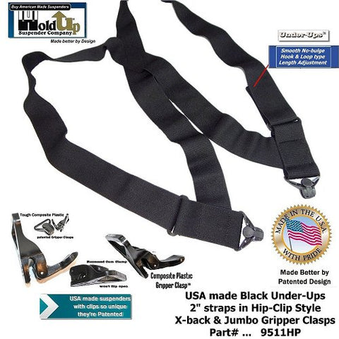 All Black Hidden Side-clip Holdup Under-Up No-Alarm suspenders with Patented Jumbo Gripper Clasps