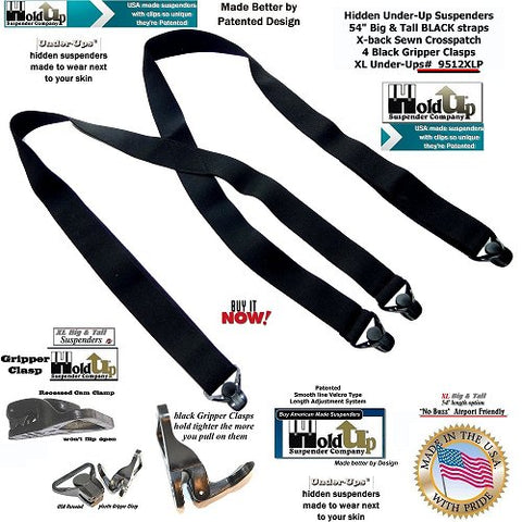 all black XL airport friendly no-alarm Holdup Suspenders worn under your shirt and they have plastic strong black Gripper clasps